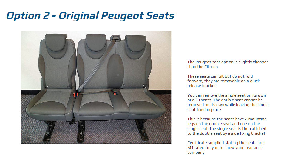 Peugeot seat CONVERSION example